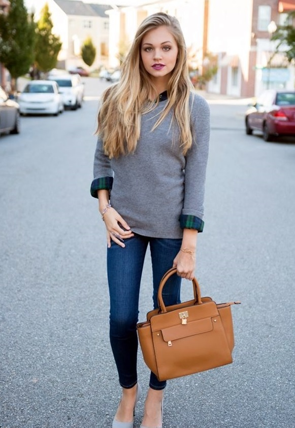 09-blue-jeans-a-grey-sweater-a-plaid-shirt-and-grey-heels