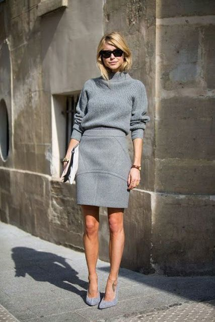27-monochrome-grey-look-with-a-skirt-and-a-turtleneck-sweater-and-heels