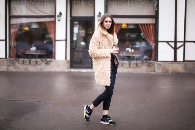skinny cropped pants, sneakers, pastel teddy bear coat