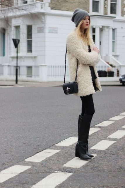 grey beanie, little black dress, black stockings, high black leather boots