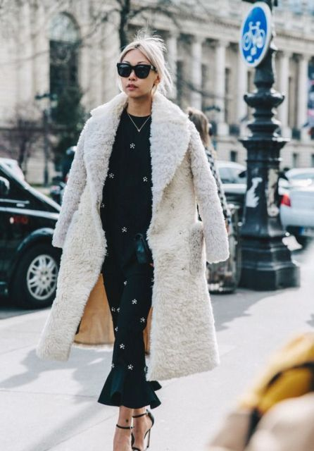 oversized teddy bear coat, printed long dress, high heels, sunglasses