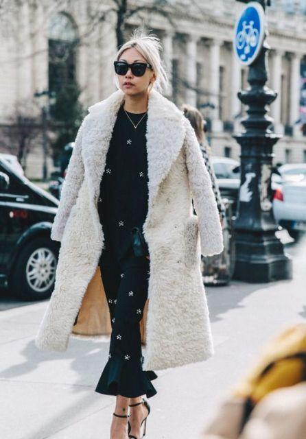 oversized teddy bear coat, printed long dress, high heels, sunglasses
