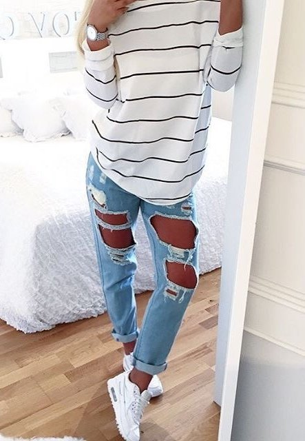 outstanding cute outfits with ripped jeans 9