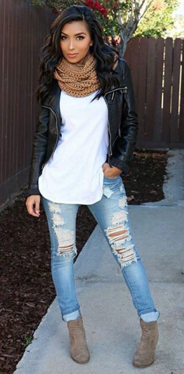 200+ Cute Ripped Jeans Outfits For Winter | MCO